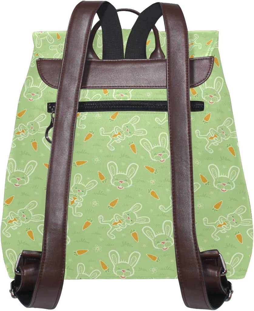 Leather Bunnies Wth Carrots Bright Green Backpack Daypack Elegant Ladies Travel Bag Women Men
