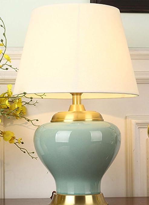 ZIXUAA Lámpara de Mesa de cerámica, Toda de Cobre Lámpara de ...