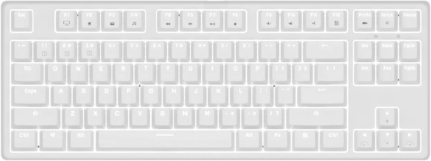 White Mechanical Gaming Keyboard RK Royal Kludge 87-Key Mechanical Brown Switch for PC/Mac Gaming Keyboard