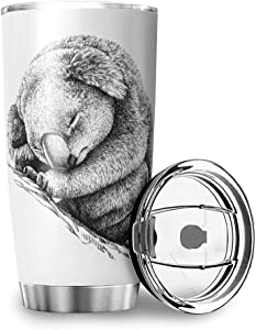 Stainless Steel Tumbler 20oz - Koala Double Wall Vacuum Insulated Coffee Cup Water Bottle Drinking Travel Mugs with Lid and Straw for Outdoor Gift for Men white 20oz