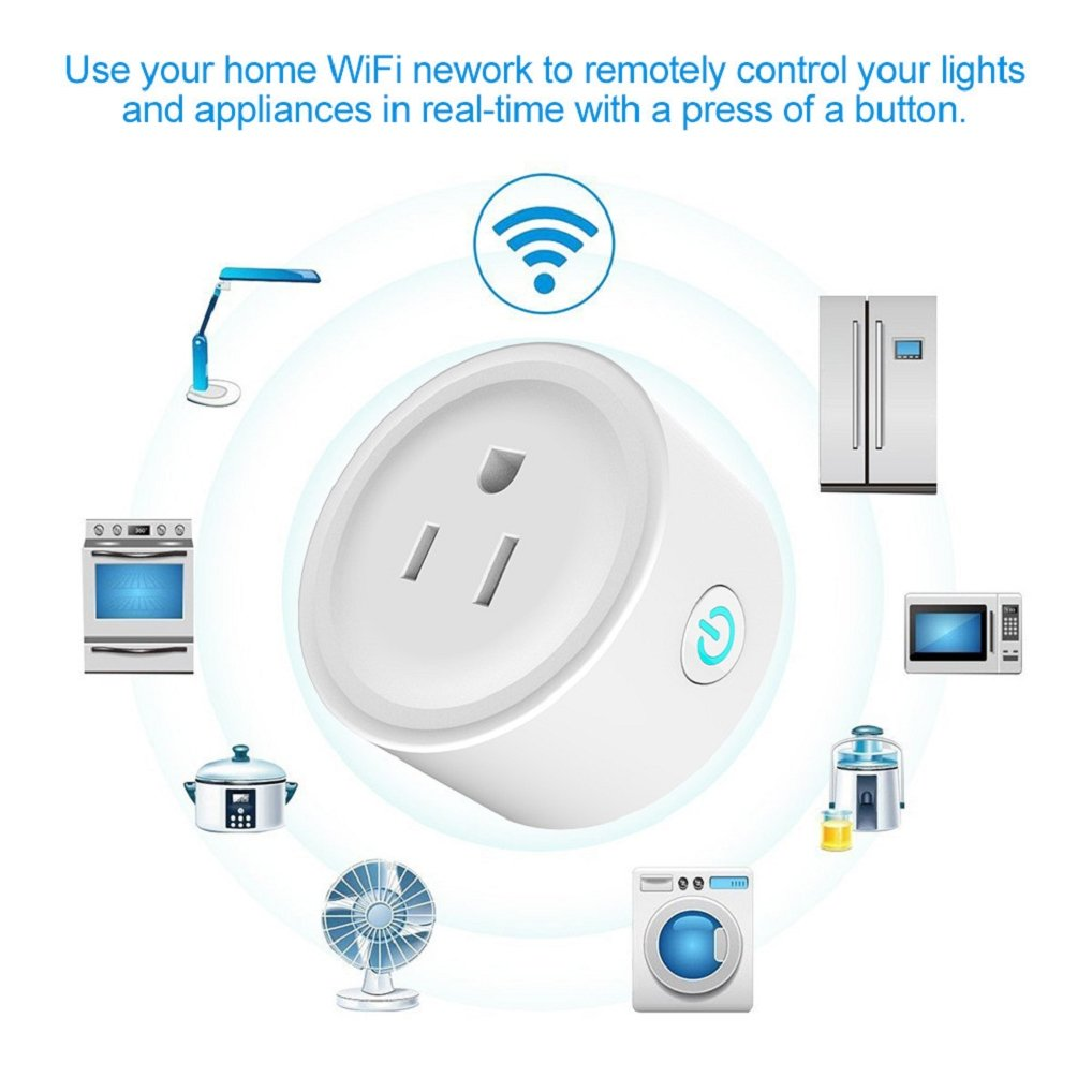 Appoi New Smart Power Socket Wifi Wireless Mini Switch Remote Control Timer Outlet US Plug Wifi Smart Power Socket Plug (White)