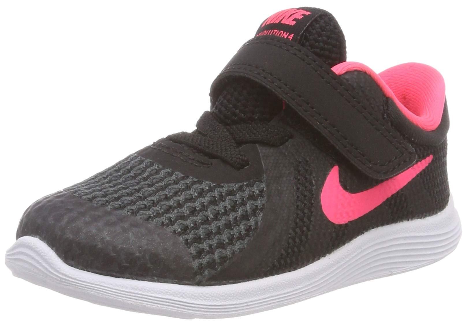 Nike Girls' Revolution 4 (TDV) Running Shoe, Black/Racer Pink - White, 9C Regular US Toddler