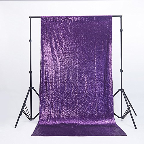 Zdada Not Through Homemade Photo Booth Sequin Backdrop-Purple 5ftx7ft ()