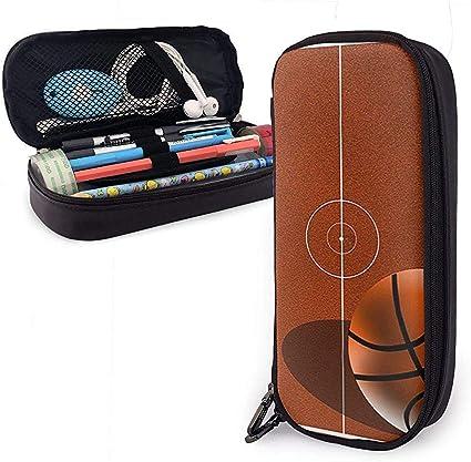 Estuche de cuero para bolígrafo Campo de baloncesto Lápiz Estuche para lápices Estuche para bolígrafo: Amazon.es: Oficina y papelería