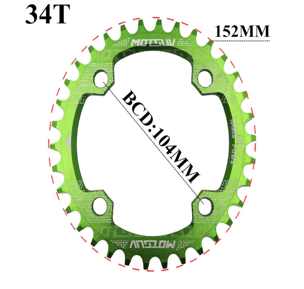 GEETAC Bicycle Crank 104BCD 32T//34T//36T//38T Oval Chainring Narrow Wide MTB bike Chainwheel Circle Crankset Plate Bicycle Parts