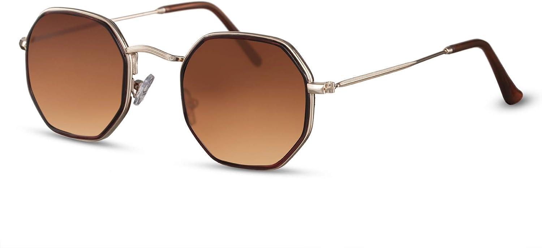 Cheapass Occhiali da Sole Occhiali Piccoli Ottagonali Metallici Specchiati UV400 Protetti da Uomo e Donna
