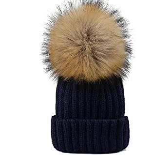 002d033e450 YANIBEST Adult Kids Knitted Winter Warm Beanie Bubble Pom Pom Hat for Women