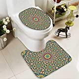 Muyindo 2 Piece Bathroom Contour Rugs Old Arabic Arabian Cultural Engraving History Tourist Attracti Non Slip Comfortable Snd Soft