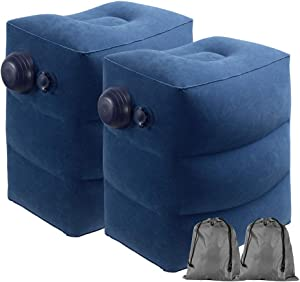 USHMA Inflatable Travel Foot Rest Pillow for Airplane, Toddler & Kids Airplane Bed for Good Night's Sleep, Leg Rest Pillow for Travel, Home and Office, Built-in Pump Inflatable Stool, 2 Pack Blue