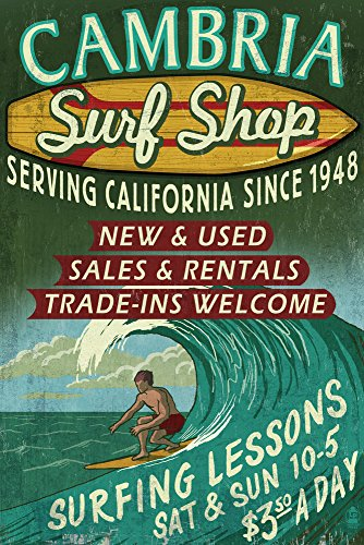 (Cambria, California - Surf Shop Vintage Sign (9x12 Art Print, Wall Decor Travel Poster))