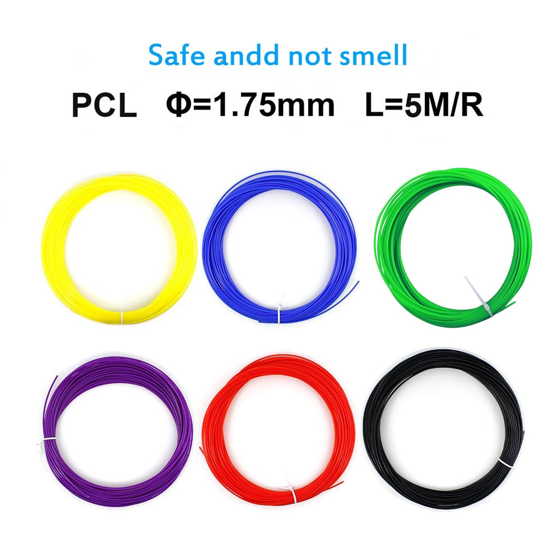 3D Printing Filament,CFTech 3D Pen Filament Refills 1.75mm PCL Material 240 Linear Feet 15 Color Plastic Doodle Supplies Kit Work with 3D Painting Pen and Printer (15 Pack)