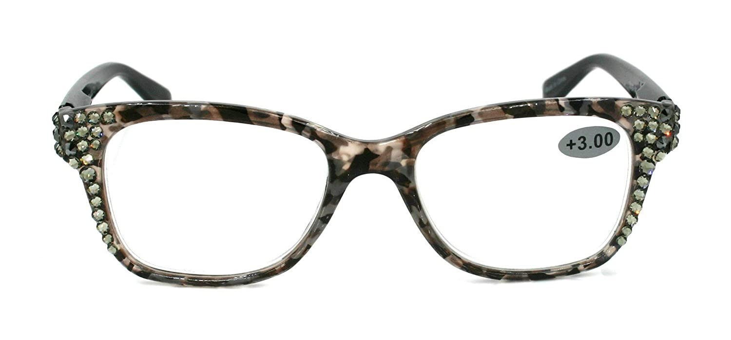 3.00 Grey Tortoise shell Wide Frame Madison Square Black Bling Women Reading Glasses with Clear Swarovski Crystals +1.50 2.50 2.00 .