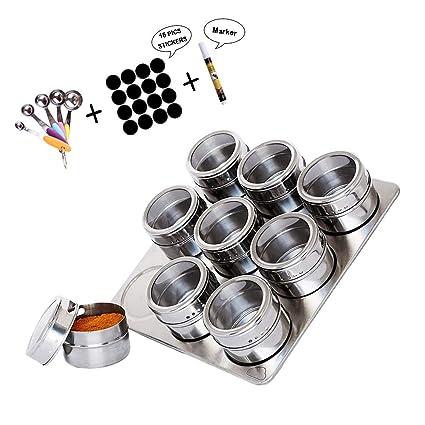 Kuty Tarros Magnéticos de Especia, Bote de Condimento Magnético de Acero Inoxidable, con Tapa de Sellado Claro Ajustados, Etiquetas de Especias, ...