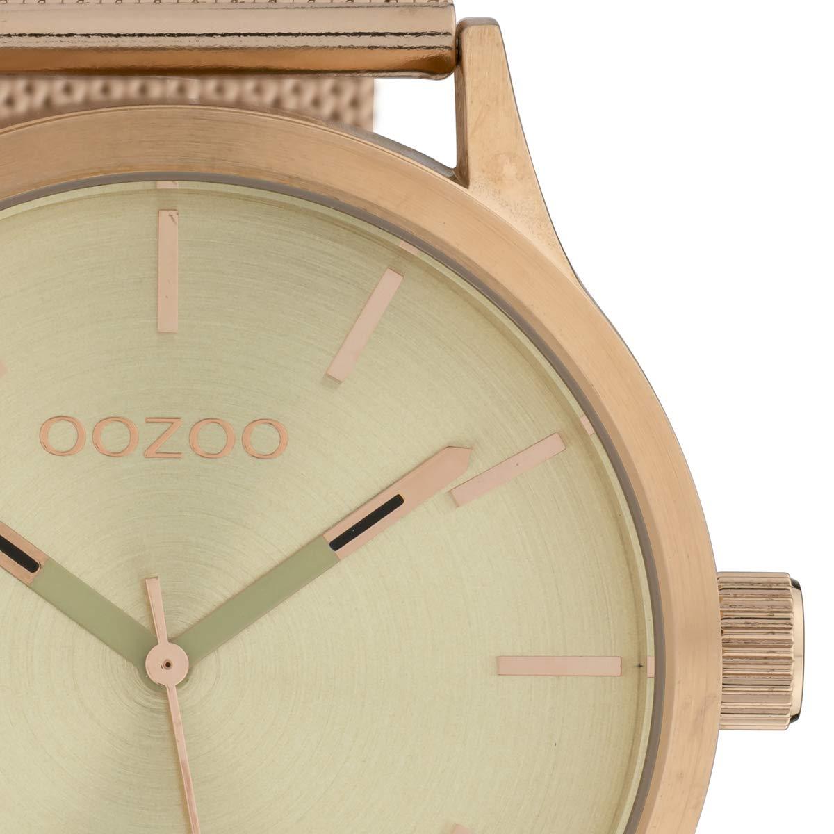 Oozoo herrklocka med rostfritt stål Milanaise metallband i 45 mm Beige/Rose