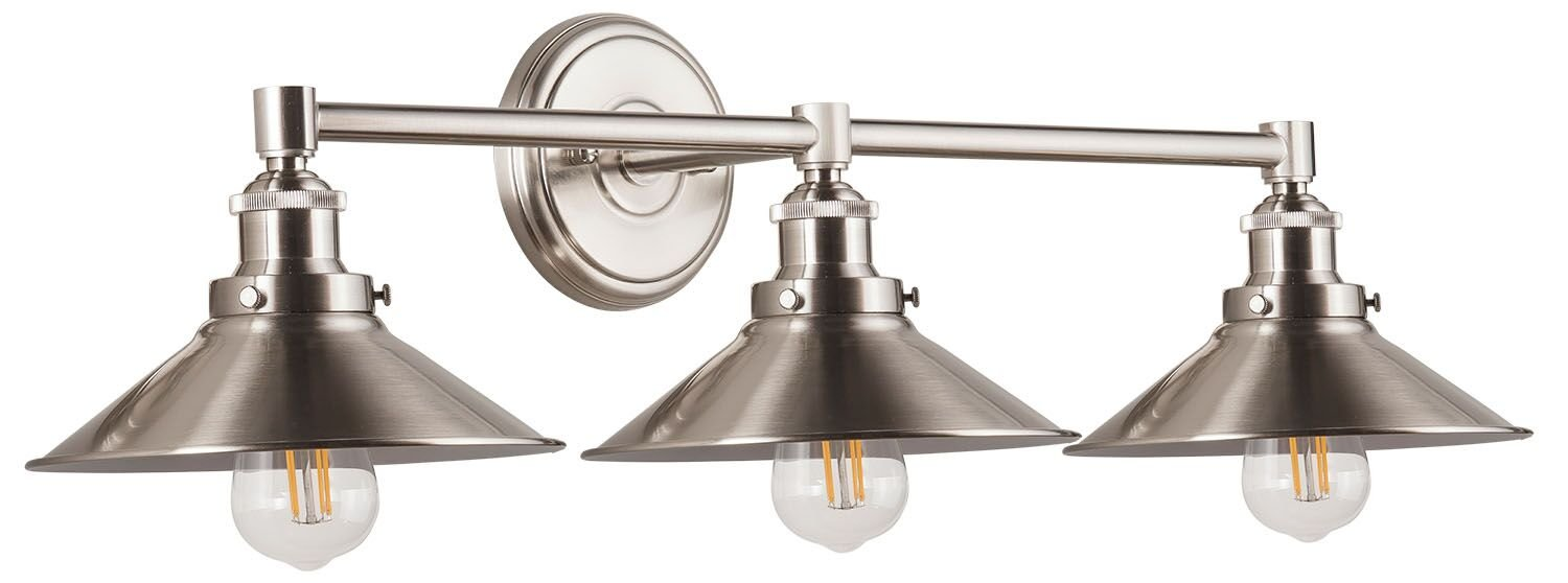 Andante Industrial 3-Light Vanity Wall Sconce with LED Bulbs Included. Brushed Nickel Metal Shade. Hardwired, UL Listed Linea di Liara LL-WL437-BN by Linea di Liara