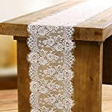 OurWarm 14 x 118 Inch White Lace Table Runners Floral Pattern Table Runner for Rustic Chic Wedding Decorations Bridal Shower Décor