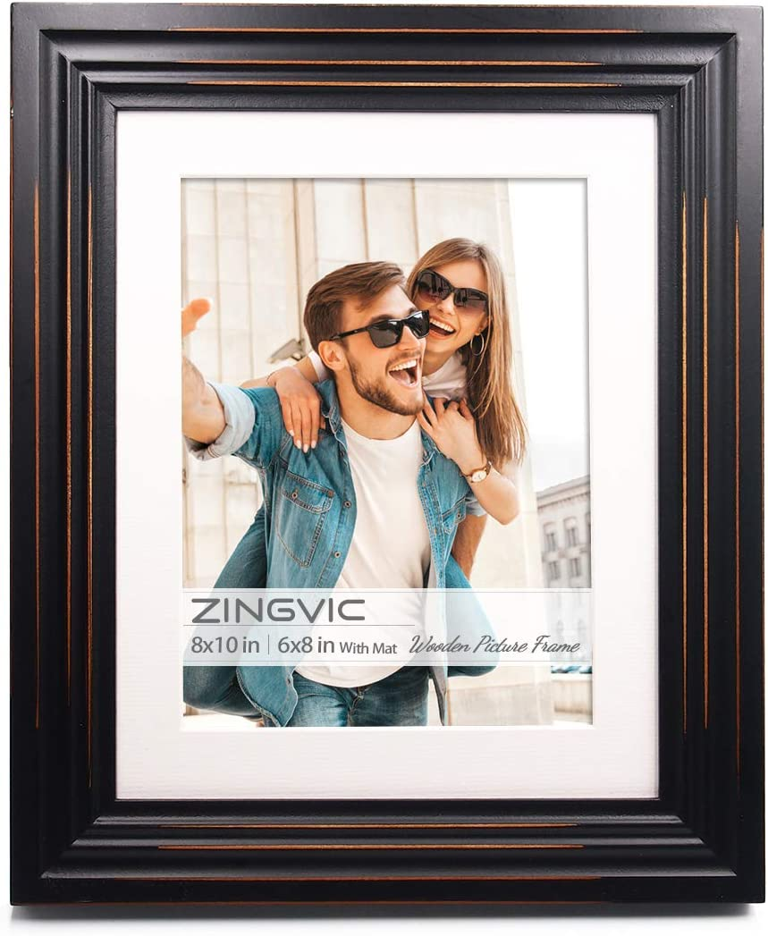 ZingVic 8x10 inch Black Wood Picture Frame with mat | Display Photo 6x8 inch or 8 by 10 Without Mat | Distressed Design | Wide Molding | Portrait and Landscape View | Stand on Desktop or Wall Hanging