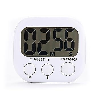 Relojes temporizadores de cocina con pantalla LCD grande temporizador de cocina digital alarma unidades de 1 - Color blanco: Amazon.es: Hogar