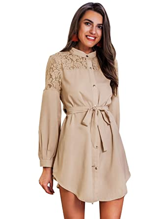 52dc1fbd1fd Simplee Women s Shirt Mini Dresses Long Sleeve Button Down Embroidered Lace  Sexy Dress with Belt (
