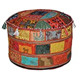 Indian Living Room Pouf, Foot Stool, Round Ottoman Cover Pouf,Traditional Handmade Decorative Patchwork Ottoman Cover,Indian Home Decor Cotton Cushion Ottoman Cover 18 x 15 inches (Red New)