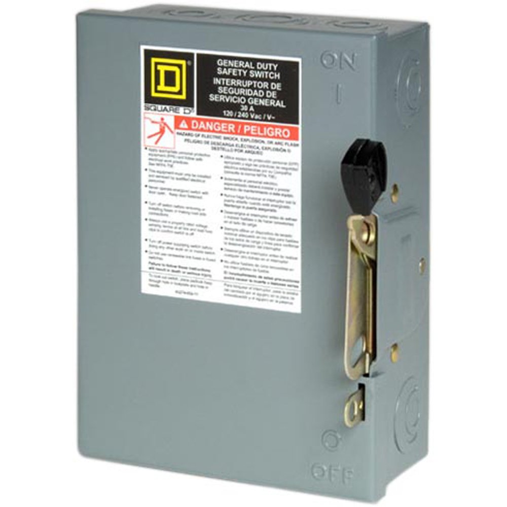 Square D by Schneider Electric D211NCP 30 Amp 120/240-Volt Two-Pole Indoor General Duty Fusible Safety Switch with Neutral by Square D by Schneider Electric
