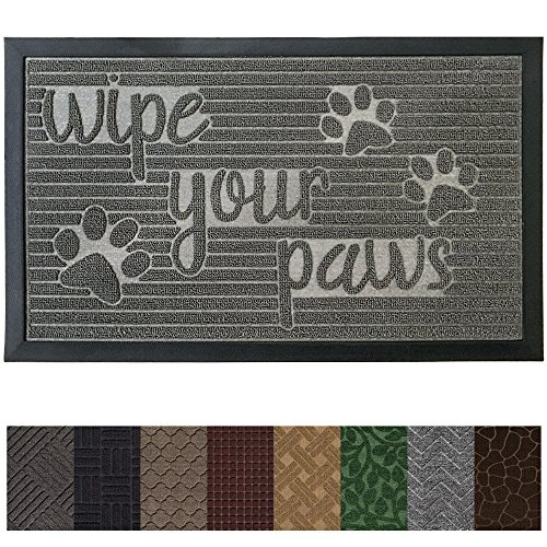 Gorilla Grip Original Durable Rubber Door Mat (35 x 23) Heavy Duty Pet + Dog Doormat, Indoor Outdoor, Waterproof, Easy Clean, Low-Profile Mats for Entry Garage, Patio, High Traffic Areas (Stone Paws)