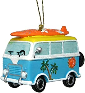 Beach Van Ornament with Surfboard On Roof Rack Hanging Ornament
