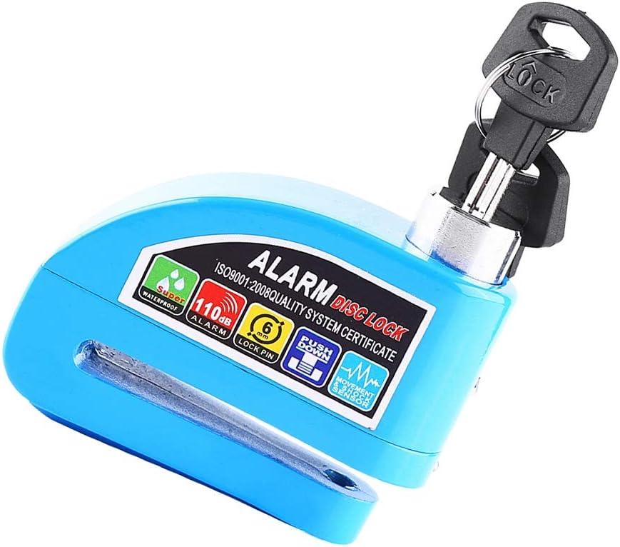 Azul Bloqueo de alarma de freno de disco a prueba de agua Scooter Moto Bicicleta Antirrobo Bloqueo de freno de disco Sistema de alarma de seguridad