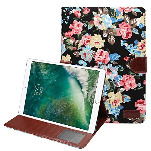 MeiLiio iPad Pro 10.5 Case Leather Smart Cover,Premium Folio Book Case Kickstand Feature Folio Cover Slim Fit Case with Card Slot Floral Pattern Cover for Apple iPad Pro 10.5 inch (Black)