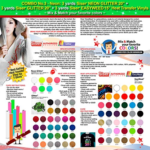 GERCUTTER Store - COMBO No.3_Neon: 3 yards Siser NEON GLITTER 20'' + 3 yards Siser GLITTER 20'' + 3 yards Siser EASYWEED 15'' Heat Transfer Vinyls (Mix & Match your favorite colors) by GERCUTTER USA