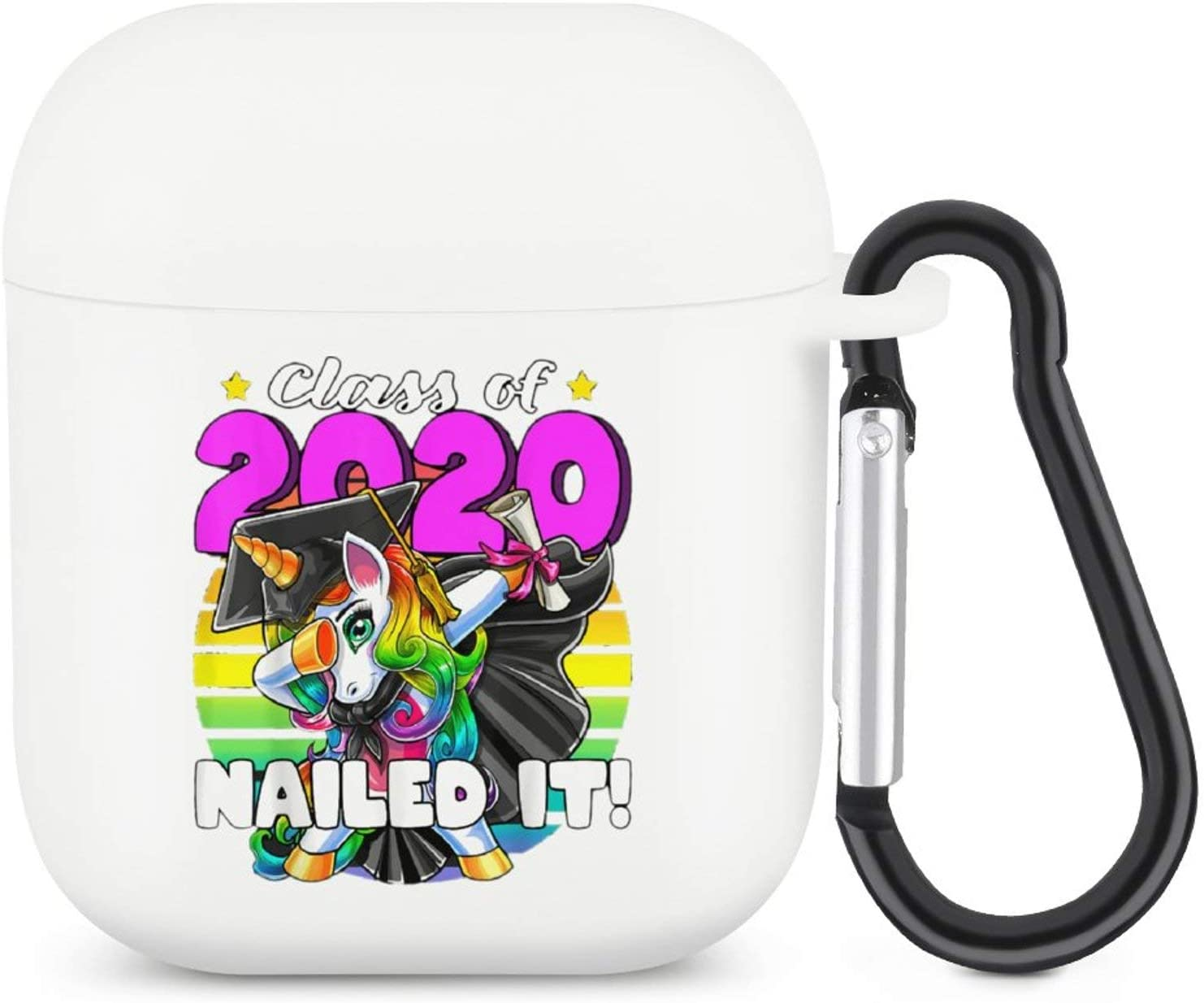 Class of 2020 Dabbing Unicorn Compatible with Airpod 1/2 Case - 3D Cute Funny Food Kawaii Cover for Airpods with Keychain - Boys Girls Women Kids Air Pods Design Cover