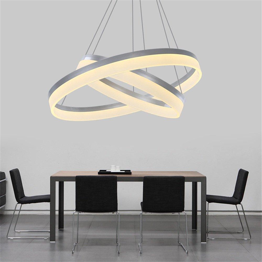 70W LED Modern Acryl Pendelleuchte Zwei Ringe Deckenlampe Kreative ...