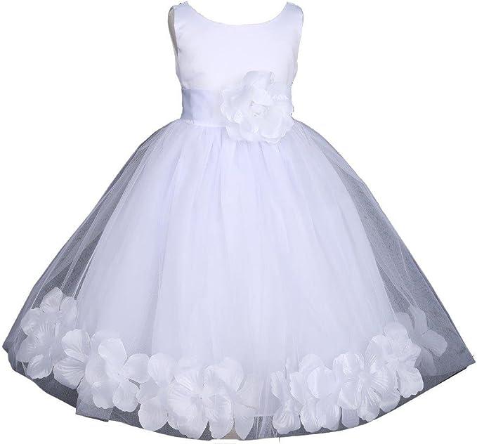 Amazon.com: Blanco boda pétalos de flores niña, vestido de ...