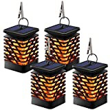 TomCare Solar Lights Solar Lanterns Dancing Flame Outdoor Hanging Lanterns Lights Decoration Lighting Solar Powered Waterproof Umbrella Lanterns Night Light Auto Sensor for Garden Patio Yard (4)