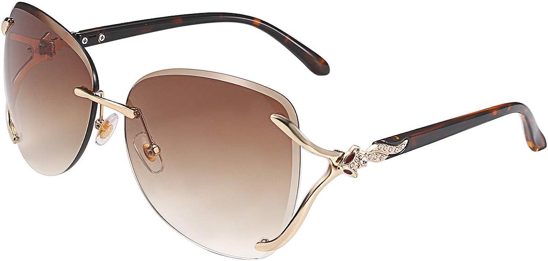 Aroncent Gafas de Sol Mujer sin Polarizado Unisex Lentes Marinas Color Gradientes Plano Marco de Metal Diamantes Incrustados Armazon Dorado Bloquea de 100% UVA UVB Protección de Ojos Antideslumbrante