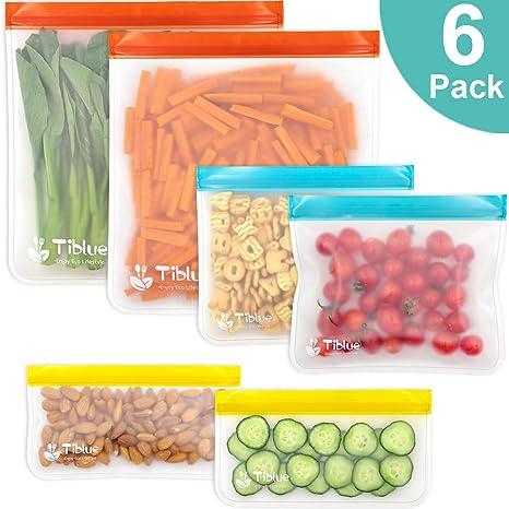 Bolsas reutilizables para almacenamiento de alimentos, 6 ...