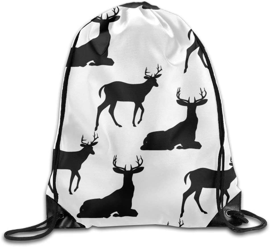 jiebokeji Folding Sport Backpack Casual Daypacks for Team Group Men Women Black Deer Design - White