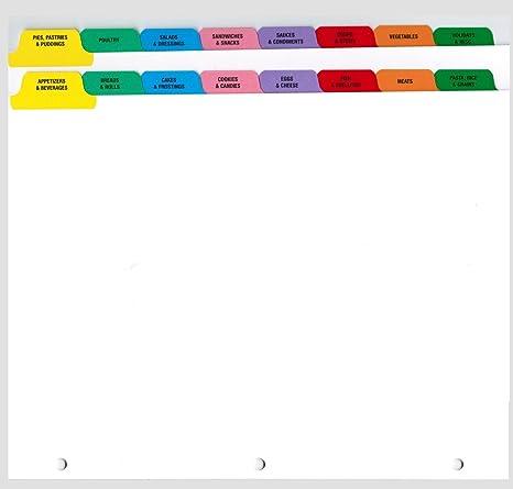 Preprinted Cookbook Index Dividers for 8 5