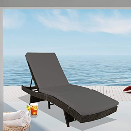 Amazon.com: Leaptime Patio Chaise Lounge Sillas: Jardín y ...