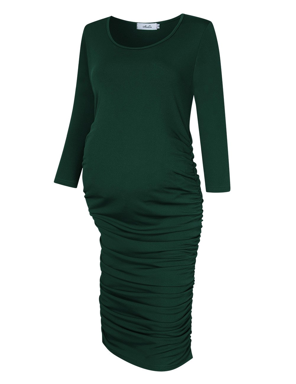 MissQee Ruched Maternity Dress Round Neck Maternity Dress 3/4 Sleeve Maternity Dresses (M, Dark Green)