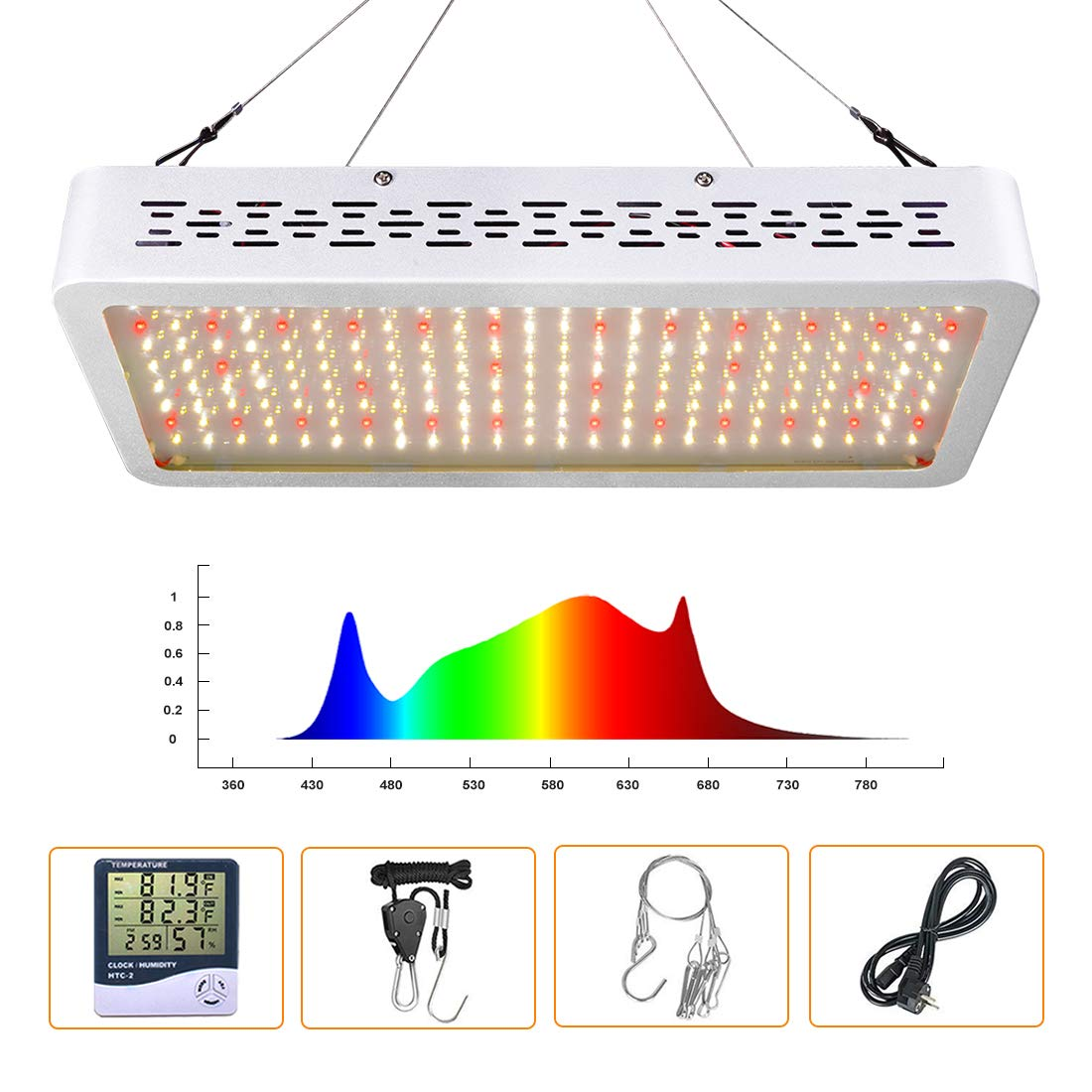 ONEO Led Grow Light 1000W Full Spectrum Sunlight 3500K White and 660nm Red Added Grow Lights for Indoor Plants, Better for Full Growth Flowering Fruiting Veg Seedling with Thermometer Hygrometer by ONEO (Image #1)