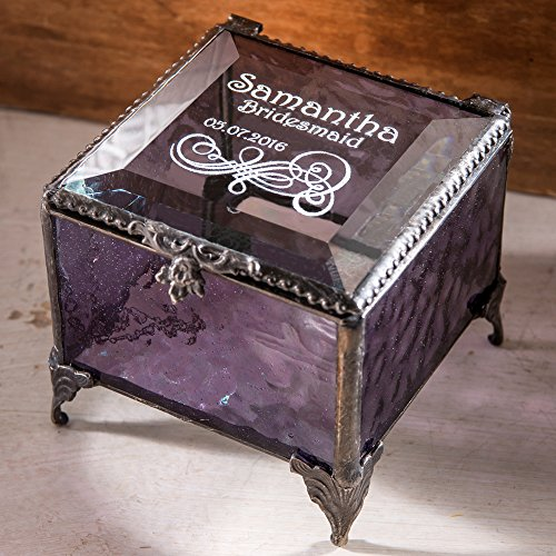 Bridesmaid Keepsake Box - J Devlin Box 836 EB235 Personalized Bridesmaid Keepsake Box Engraved Purple Glass Jewelry Box Wedding Party Gift Bridal Attendant