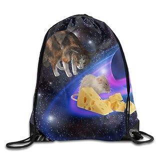 Trsdshorts Unisex Cat Catches Mice Print Drawstring Backpack Rucksack Shoulder Bags Gym Bag Sport Bag