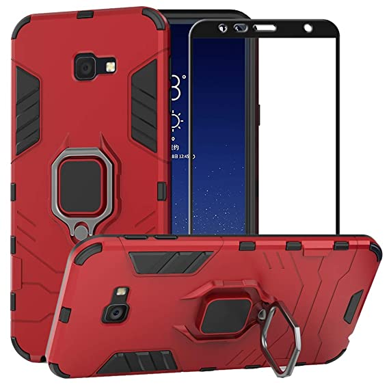 sports shoes d3b12 75c4d BestAlice for Samsung Galaxy J4 Plus / J4 Prime Case, Hybrid Heavy Duty  Protection Shockproof Defender Kickstand Armor Case Cover Tempered Glass ...