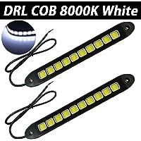 Luz corriente diurna R 2x LED COB Luz de conduccion diurna conduccion de coche automoviles Lampara de niebla DRL Impermeable 12V 6W Luz blanca Marco plata SODIAL