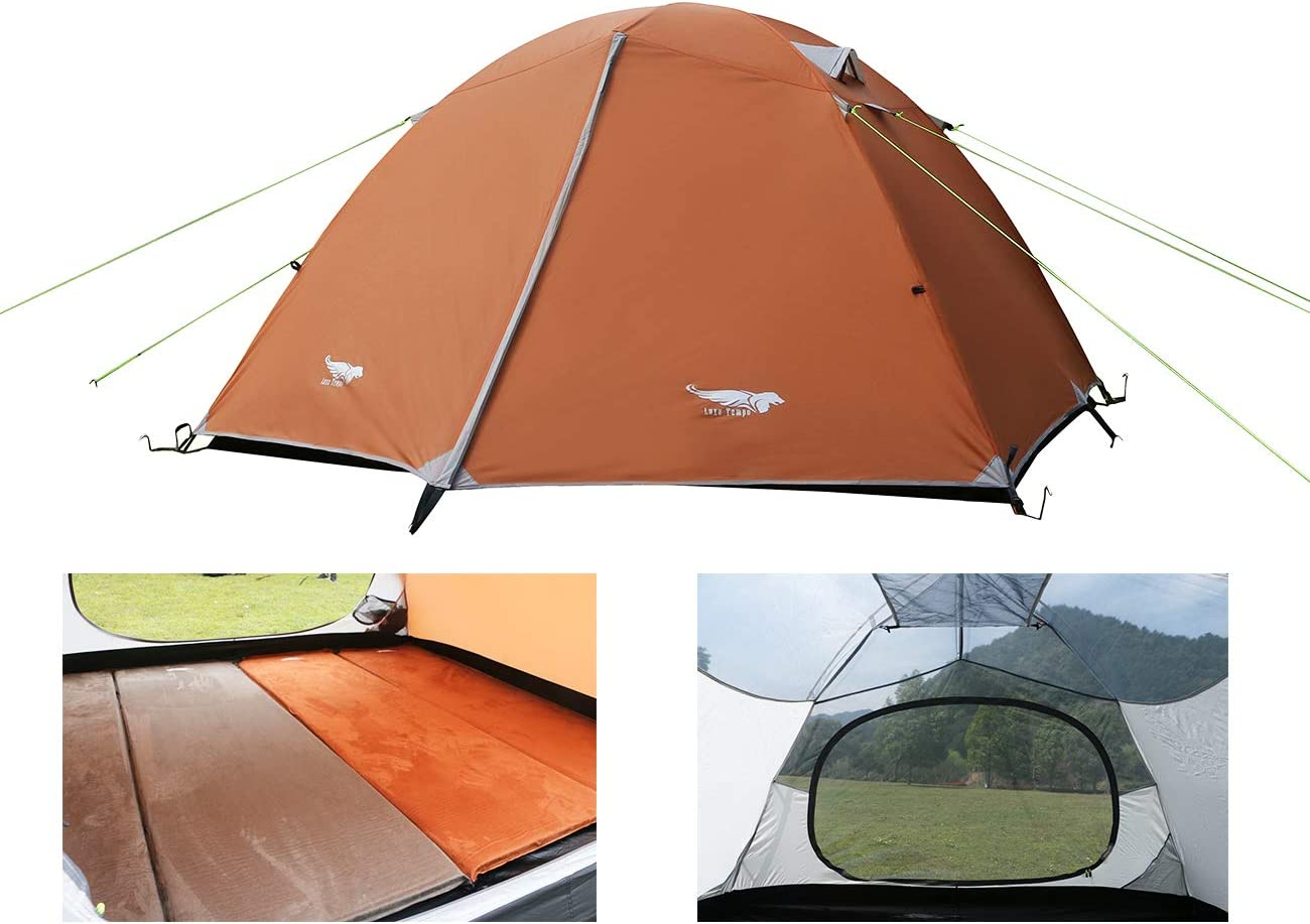 Luxe Tempo Lightweight 4 Person Tent for Backpacking Family Camping 7.7 lbs with Ridge Pole Gear Loft Rip-Stop Fabric Aluminum Poles