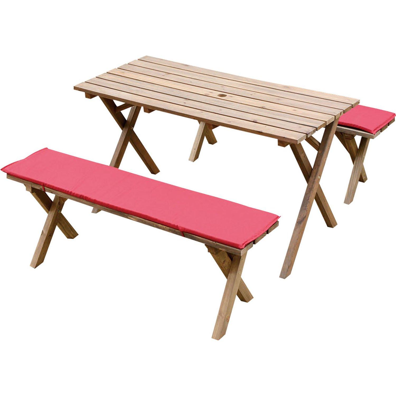 Rocking Table(ロッキングテーブル)  ピクニックテーブル 3点セット 120幅 ダークブラウン クッション(レッド)付き RPT-120DB-C-RE B014GM82MA