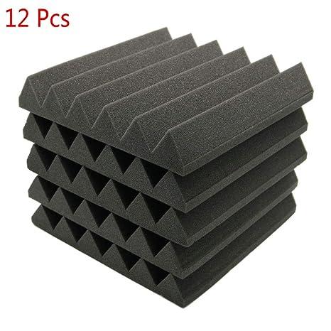 Paneles de absorción de sonido; espuma de insonorización para estudio acústico (12 unidades de 5 x 30 x 30 cm)