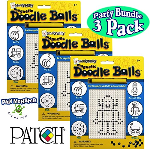 Smethport Wooly Willy Magnetic Doodle Balls Drawing Boards Gift Set Party Bundle - 3 Pack Doodle Balls