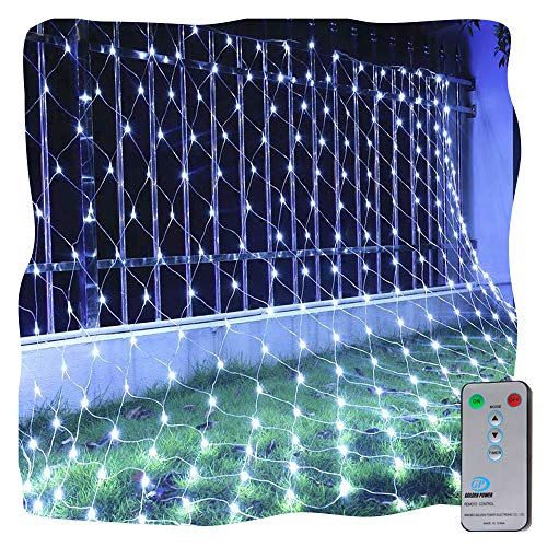 Ollny LED Fairy String Decorative Lights Net Mesh Tree-wrap Lights Low Voltage for Christmas Wedding Garden Decorations White Light 9.8ft x 6.6ft 200 LEDs